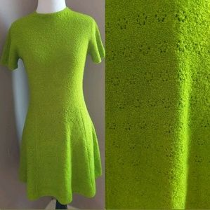 Vintage 60s Mini Go-go Mod Green Dress